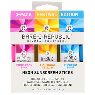 Bare Republic, Neon Sunscreen Sticks, Festival Edition, SPF 50, 3 Pack, .3 oz (8.5 g) Each