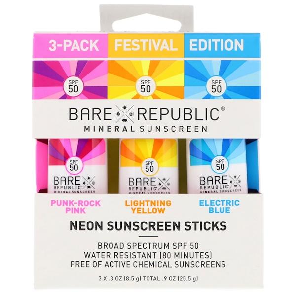 Bare Republic, Неоновые палочки солнцезащитного крема, фестивальная серия, фактор защиты от солнца 50, 3 в упаковке, по 8,5 г каждая (Discontinued Item)