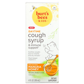 Burt's Bees, Kids, Cough Syrup & Immune Support, Daytime, 1+ Years, Natural Grape, 4 fl oz (118 ml)