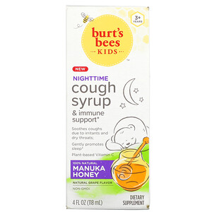 Burt's Bees, Kids, Cough Syrup & Immune Support, Nighttime, 3+ Years, Natural Grape, 4 fl oz (118 ml)'