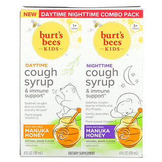 Burt's Bees, Kids, Daytime/Nighttime Cough Syrup & Immune Support, Combo Pack, Natural Grape, 2 Pack, 4 fl oz (118 ml) Each
