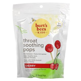 Burt's Bees, Kids, Throat Soothing Pops, 3+ Years, Cherry, 15 Throat Pops