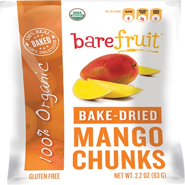 Bare Fruit, Organic Bake-Dried Mango Chunks, 2.2 oz (63 g) (Discontinued Item)