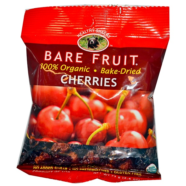 Bare Fruit, Cherries, No Sugar Added, 2.6 oz (73 g) (Discontinued Item)