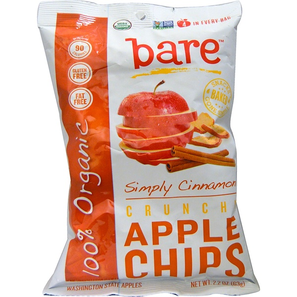 Bare Snacks, Crunchy Apple Chips, Simply Cinnamon, 2.2 oz (63 g) (Discontinued Item)