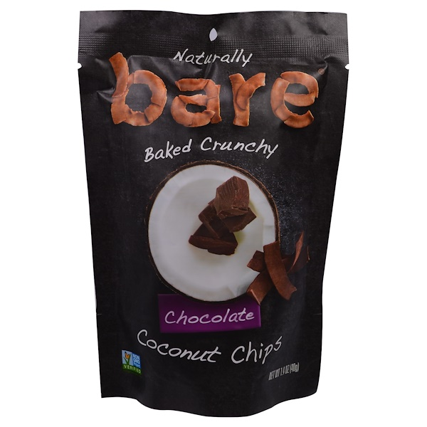 Bare Snacks, Baked Crunchy Coconut Chips, Chocolate, 1.4 oz (40 g) (Discontinued Item)