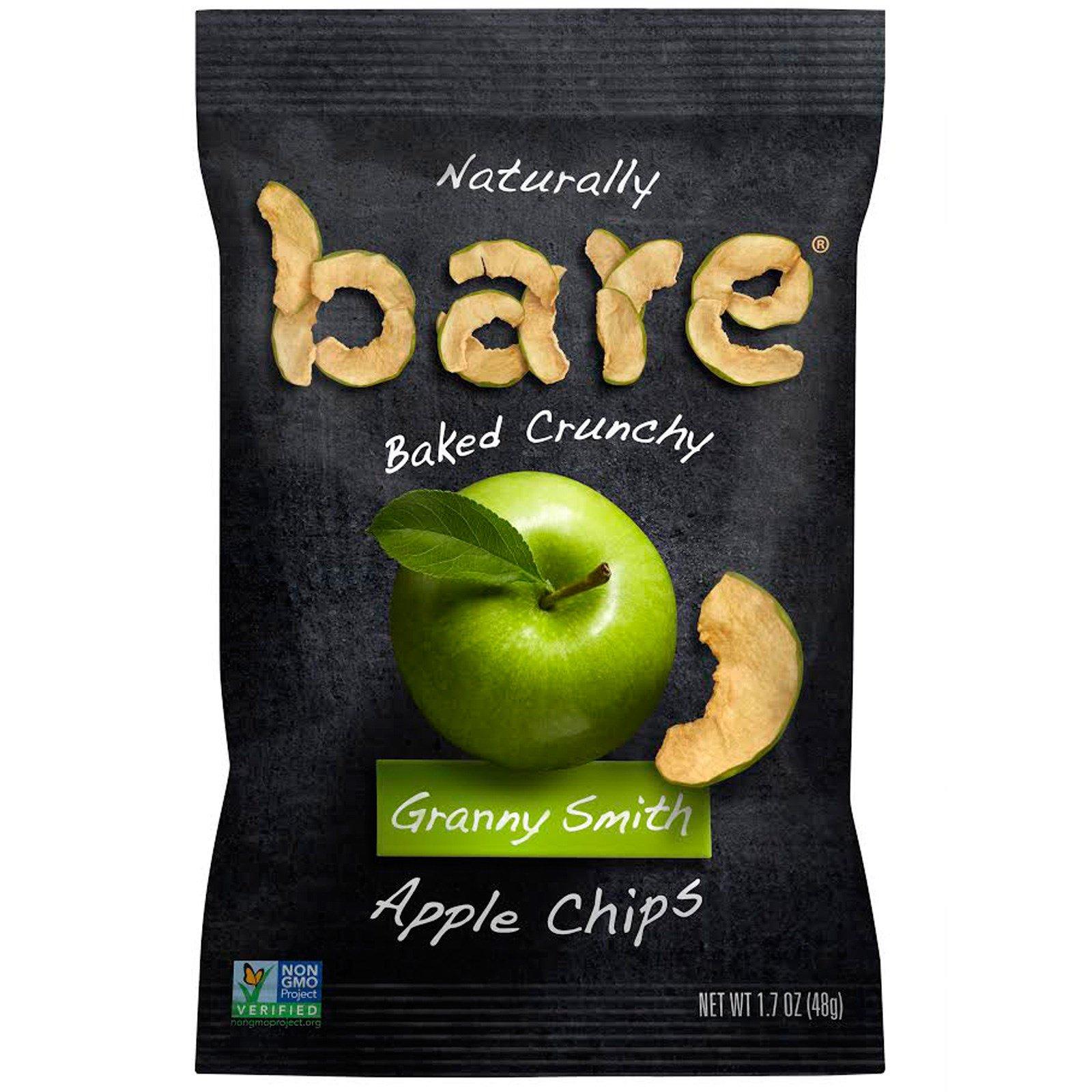 """Bare Fruit, Запеченные яблоки """"Грэнни Смит"""", яблочные чипсы, 1,7 унц. (48 г)"""