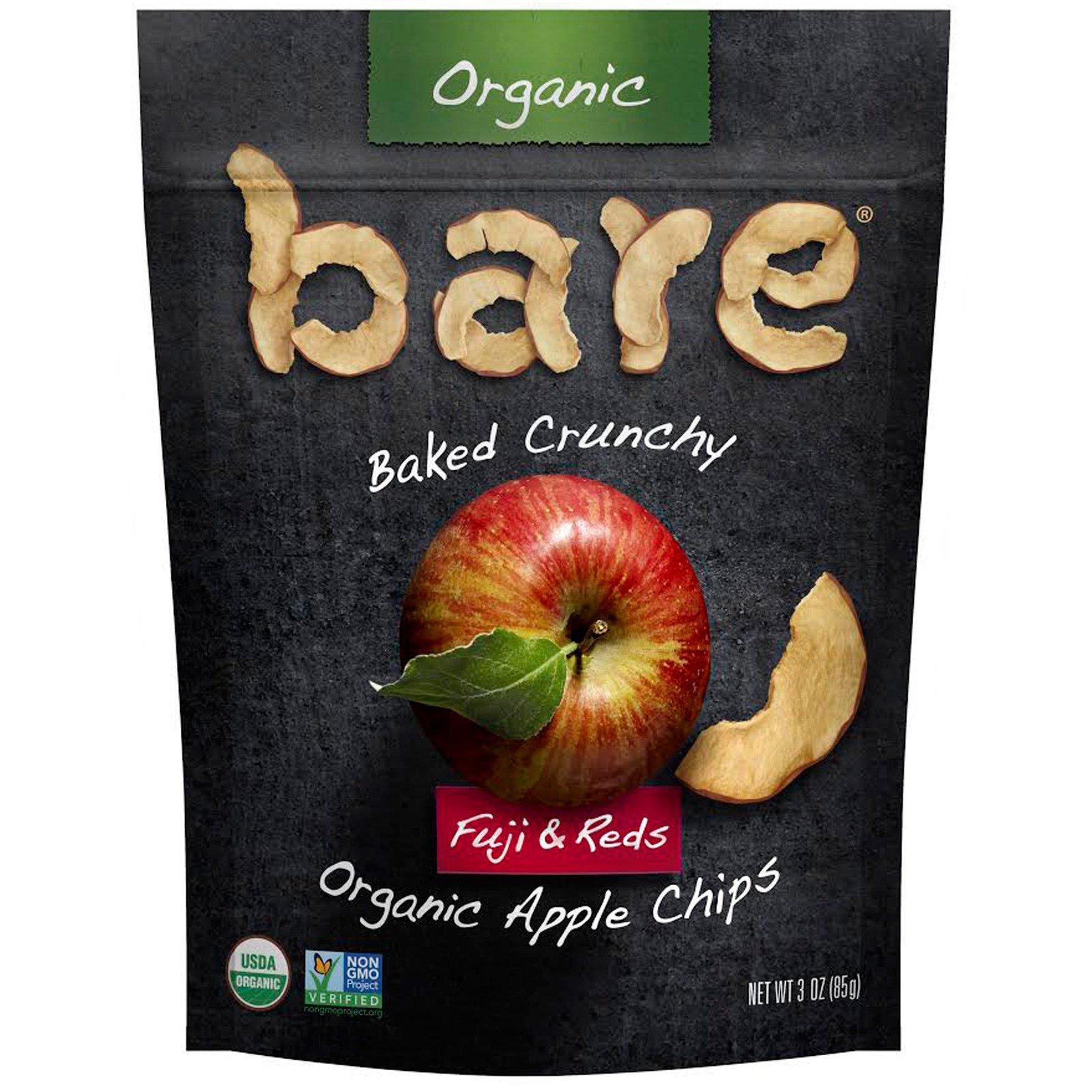 Bare Fruit, Запеченные хрустящие органические яблочные чипсы, фуджи и красные, 3 унции (85 г)