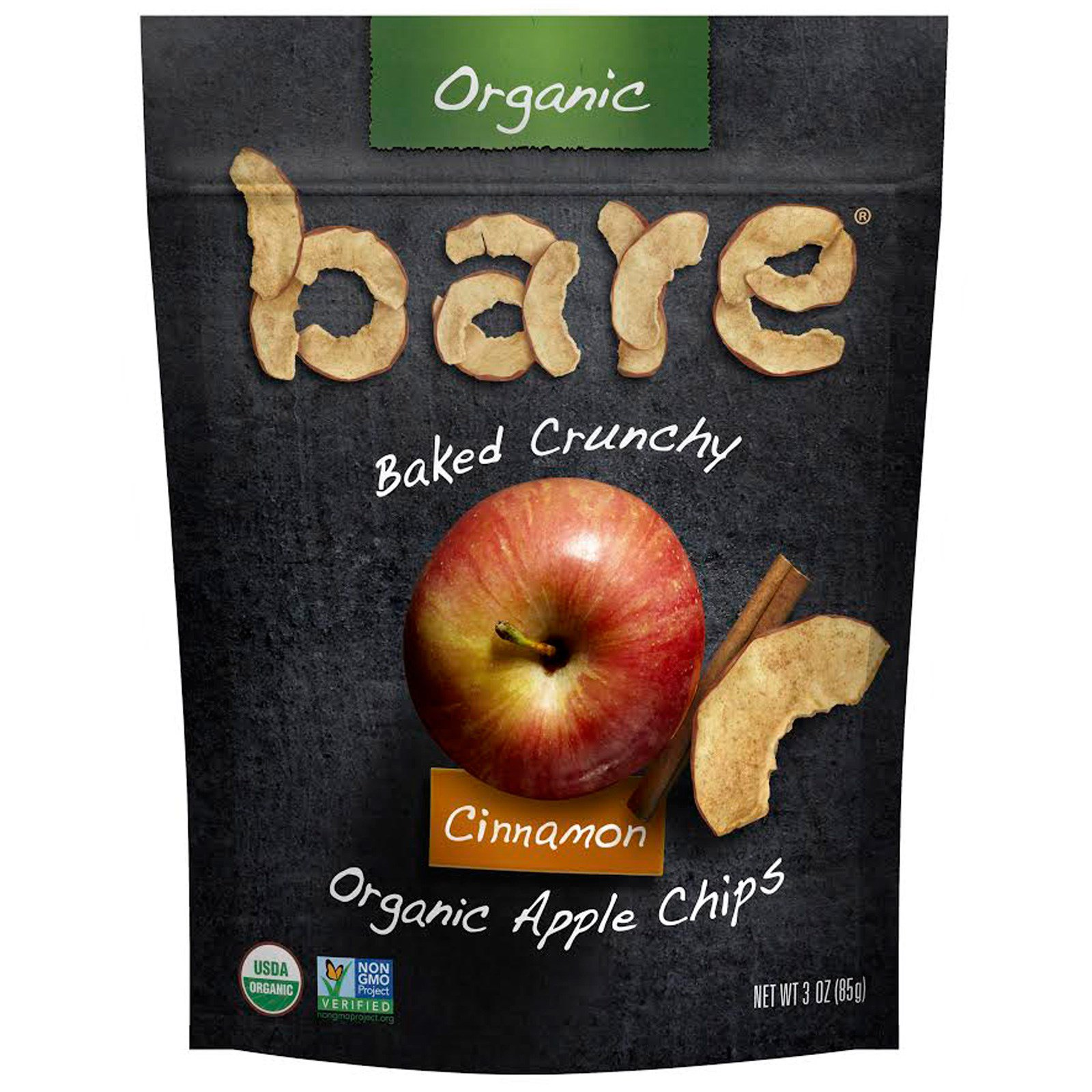 Bare Fruit, Baked Crunchy, Organic Apple Chips, Cinnamon, 3 oz (85 g)