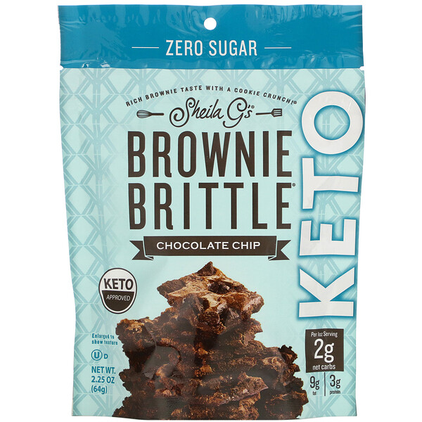 Sheila G's, Brownie Brittle, Keto, Chocolate Chip, 2.25 oz (64 g)