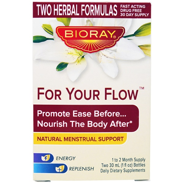 Bioray, For Your Flow, Promote Ease Before...Nourish The Body After, Natural Menstrual Support, 2 Bottles, 30 ml (1 fl oz) Each (Discontinued Item)