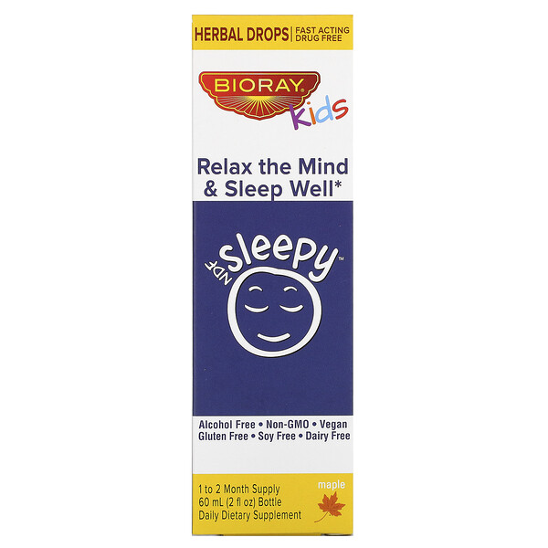 Bioray, Kids, NDF Sleepy, Relax The Mind & Sleep Well, Maple, 2 fl oz (60 ml)