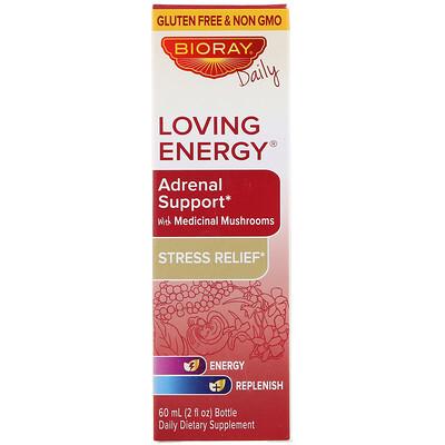 Купить Bioray Loving Energy, добавка для поддержки здоровья надпочечников с медицинскими грибами, без спирта, 60мл