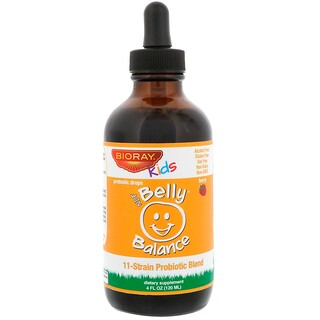Bioray Inc., Kids, NDF Belly Balance, 11-Strain Probiotic Blend, Berry Flavor, 4 fl oz (120ml)