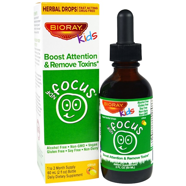 Bioray, NDF Focus, Boost Attention & Remove Toxins, Kids, Sabor Cítrico, 2 fl oz. (60 ml)