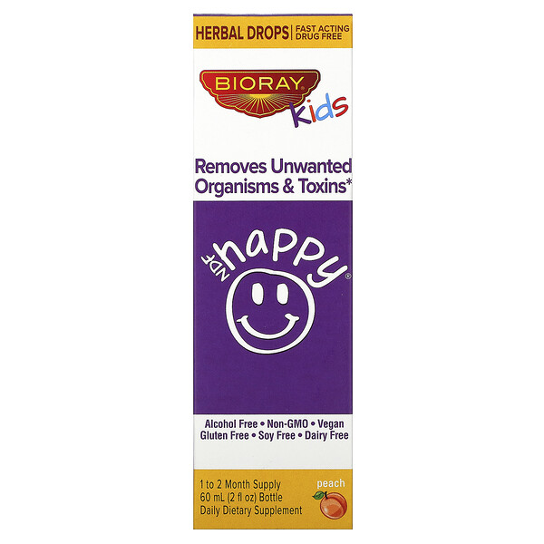 NDF Happy, Removes Unwanted Organisms & Toxins, Kids, Peach Flavor, 2 fl oz. (60 ml)