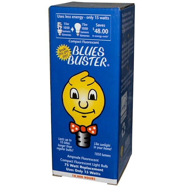 Blues Buster, Compact Fluorescent Light Bulb, 15 Watt, 10,000 Hours, 1 Bulb (Discontinued Item)