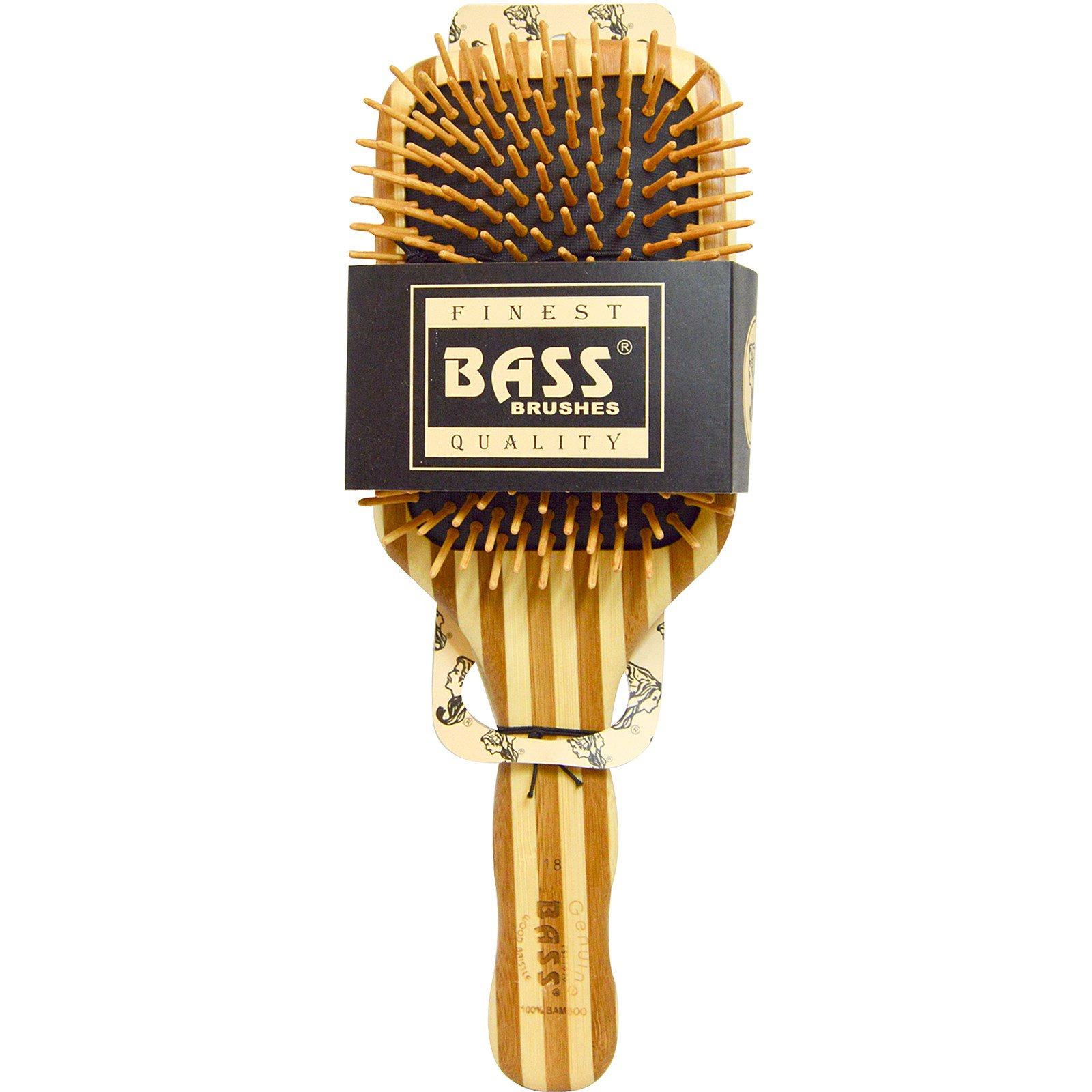 Bass Brushes Large Square Paddle Brush Cushion Wood Bristles With Hair Brus Stripped Bamboo Handle