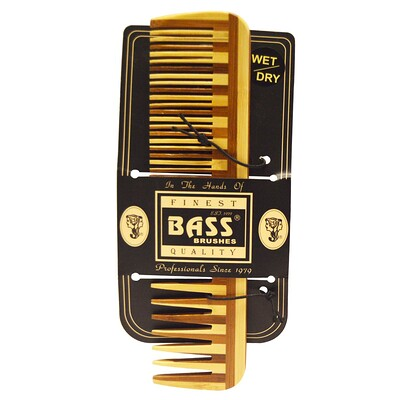Bass Brushes Large Wood Comb, Wide Tooth/ Fine Combination