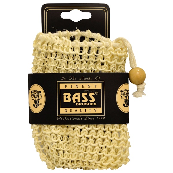 Bass Brushes, Sisal Soap Holder Pouch, with Drawstring, 100% Natural Fibers, Firm, 1 Piece (Discontinued Item)