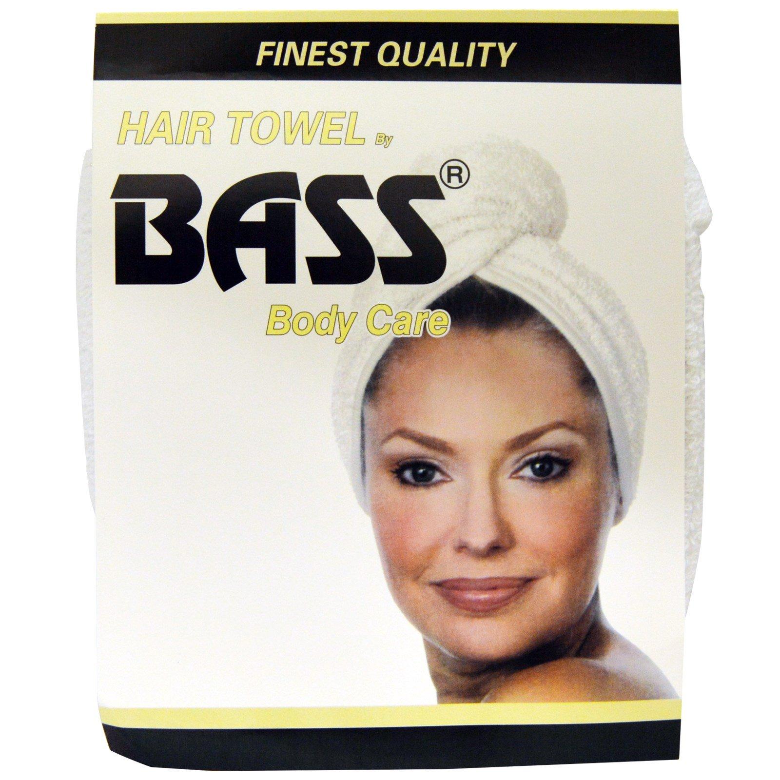 Bass Brushes, Супер впитывающее полотенце для волос, Белое, 1 штука