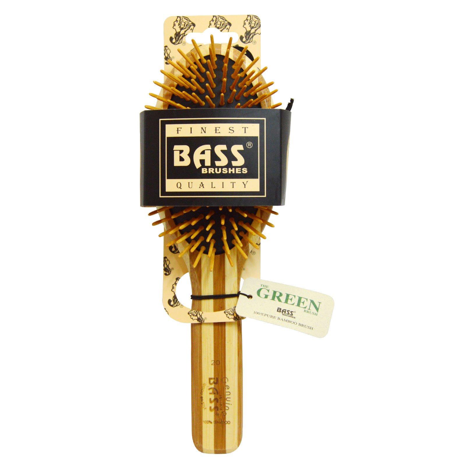 Bass Brushes, 特大オーバル, ヘアブラシ, クッション性, 外皮を剥いだ竹の柄のウッドブリストル, 1ヘアブラシ