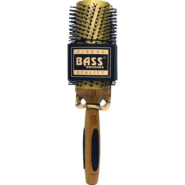 Bass Brushes, Professional Length Round, Extra Large Nylon Gold Ceramic , 1 Base Brush (Discontinued Item)