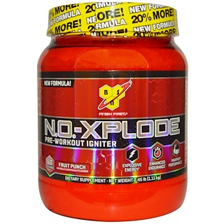 BSN, N.O.-Xplode™、プレワークアウト イグナイター、フルーツパンチ味、2.45 ポンド (1.11 kg)