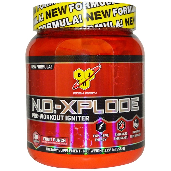 BSN, N.O.-Xplode, Pre-Workout Igniter, Fruit Punch, 1.22 lbs (555 g)