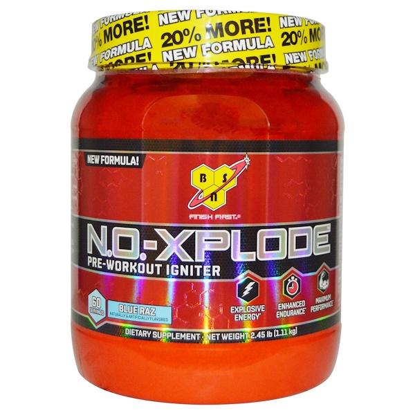 BSN, N.O.-Xplode、Pre-Workout Igniter、Blue Raz、2.45 lbs (1.11 kg)