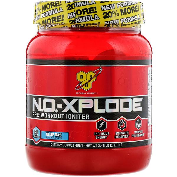 BSN, N.O.-Xplode, Pre-Workout Igniter, Blue Raz, 2.45 lbs (1.11 kg)
