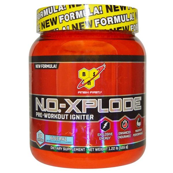 BSN, N.O.-Xplode, Pre-Workout Igniter, Blue Raz, 1.22 lbs (555 g)