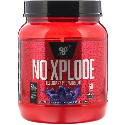 Купить BSN N.O.-Xplode, Legendary Pre-Workout, со вкусом винограда, 1, 11 кг (2, 45 фунта)