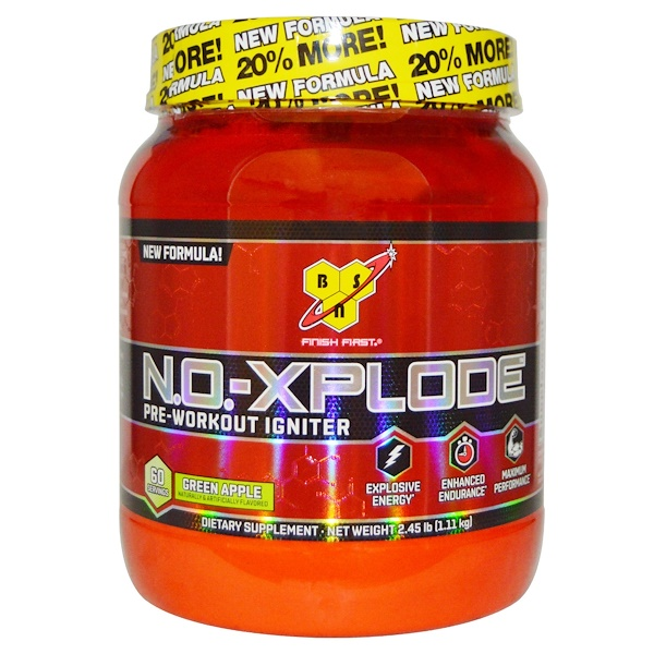 BSN, N.O.-XPlode, Pre-Workout Igniter, Green Apple, 2.45 lbs (1.11 kg) (Discontinued Item)