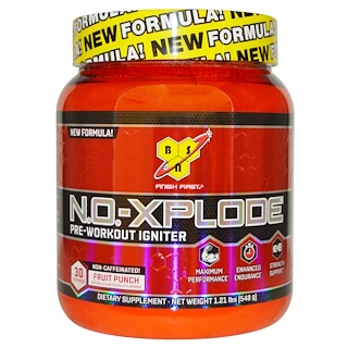 BSN, N.O.-Xplode, Pre-Workout Igniter, Non-Caffeinated, Fruit Punch, 1.21 lbs (548 g)