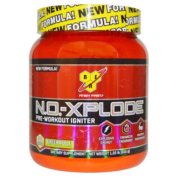 BSN, N.O.-Xplode, Pre-Workout Igniter, Green Apple, 1.22 lbs (555 g) (Discontinued Item)