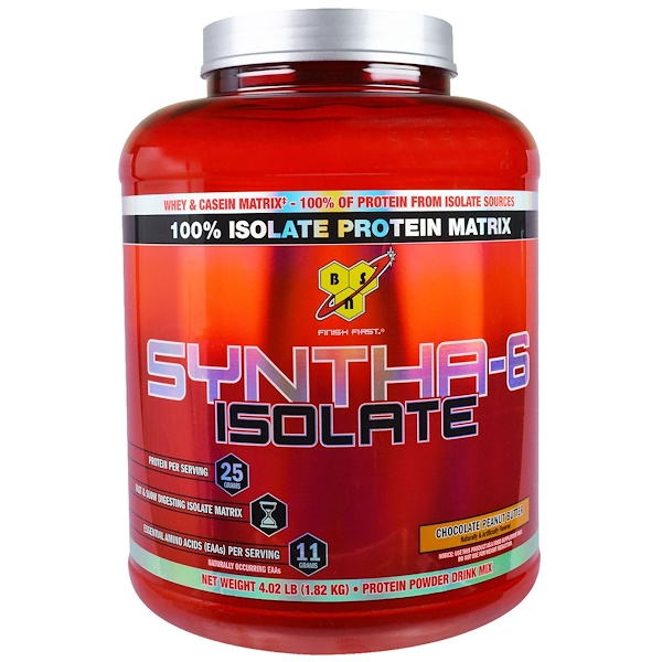BSN, Syntha-6 Isolate, Protein Powder Drink Mix, Chocolate Peanut Butter, 4.02 lb (1.82 kg) (Discontinued Item)
