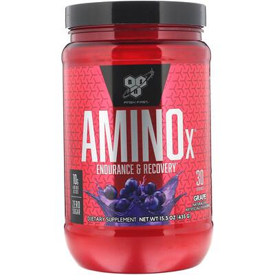 Фото - Amino-X, для выносливости и восстановления, со вкусом винограда, 435 г (15,3 унции) elastijoint формула для поддержки суставов со вкусом фруктового пунша 384 г 13 54 унции