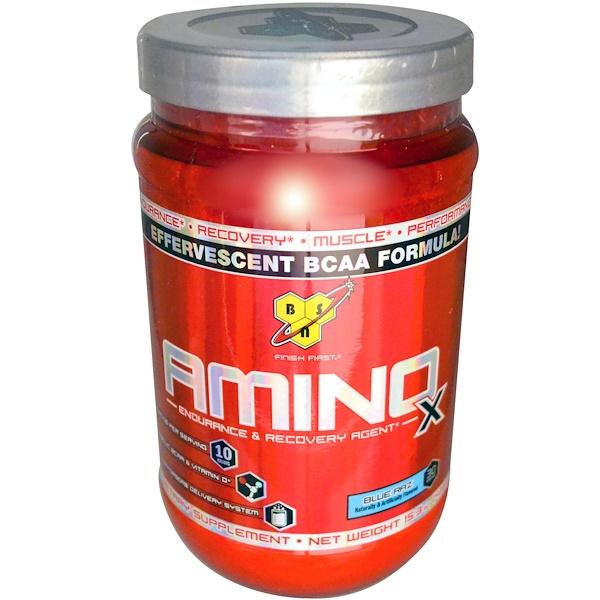BSN, Amino X, Effervescent BCAA Formula, Blue Raz, 15.3 oz (435 g)