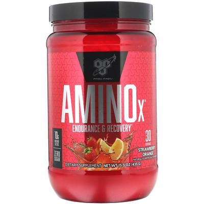 Фото - AminoX, увеличение выносливости и восстановление, вкус «Апельсин и клубника», 435г (15,3унции) amino x для выносливости и восстановления со вкусом винограда 435 г 15 3 унции