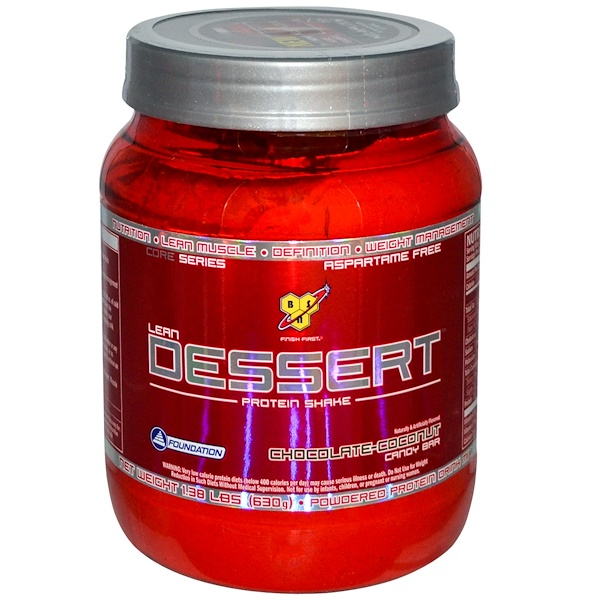 BSN, Lean Dessert Protein Shake, Chocolate-Coconut Candy Bar, 1.38 lbs (630 g) (Discontinued Item)