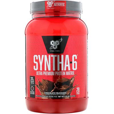 BSN Syntha-6, белковая матрица ультра-премиум, шоколадный молочный коктейль, 1,32 кг (2,91 фунта)