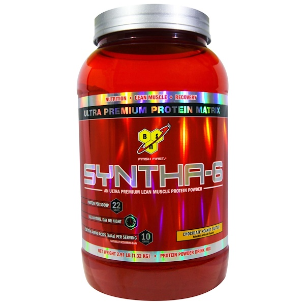 BSN, Syntha-6,超優質瘦肉蛋白粉,巧克力花生醬,2、91磅(1、32公斤)