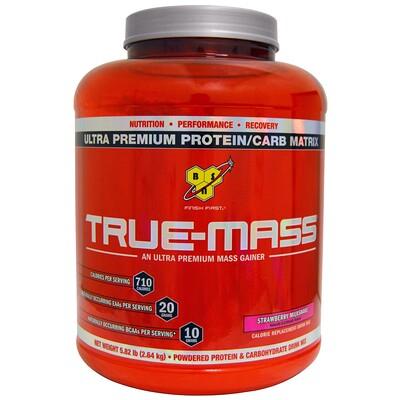 Купить BSN True-Mass, белково-углеводная смесь ультрапремиального качества, клубничный молочный коктейль, 2, 64кг (5, 82фунта)