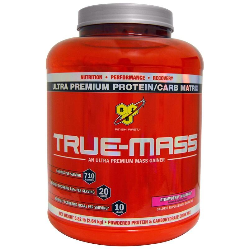 True-Mass, Ultra Premium Protein/Carb Matrix, Strawberry Milk Shake, 5.82 lbs (2.64 kg)