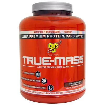 Купить BSN True-Mass, Ultra Premium Protein/Carb Matrix, шоколадный молочный коктейль, 2, 64 кг (5, 82 фунта)