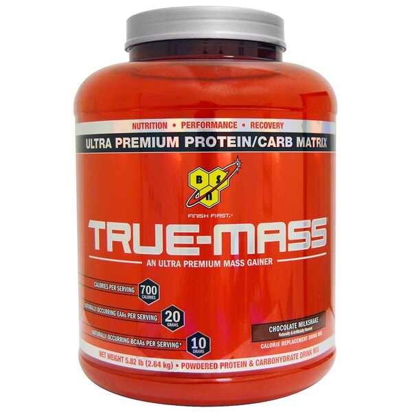 BSN, True-Mass, Ultra Premium Protein/Carb Matrix, Chocolate Milkshake, 5.82 lbs (2.64 kg)