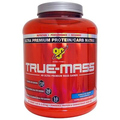True Mass, белково-углеводная матрица ультра-премиум со вкусом ванильного мороженого, 2,64 кг (5,82 фунта)