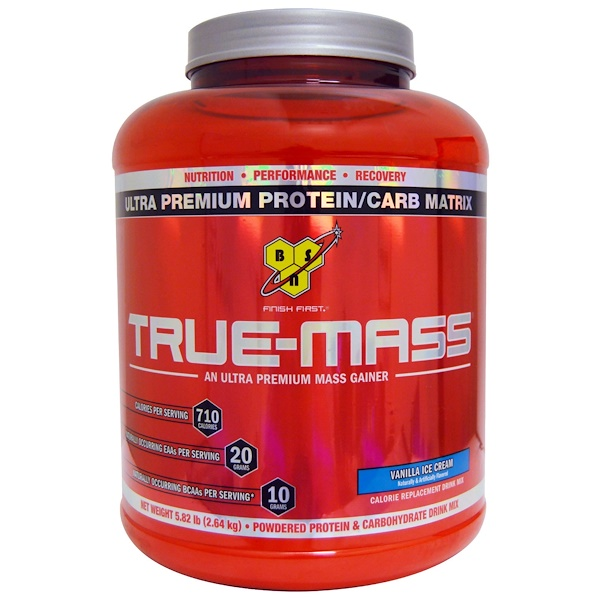 True Mass, Ultra Premium Protein/Carb Matrix, Vanilla Ice Cream, 5.82 lbs (2.64 kg)