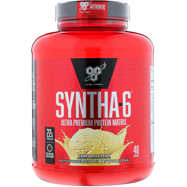 BSN, Syntha-6, Ultra Premium Protein Matrix, Vanilla Ice Cream, 5.0 lbs (2.27 kg)